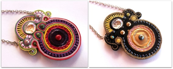 exotic necklace made of soutache. one pair to choose. HANDMADE