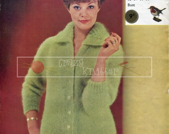 """Lady's Cardigan with Collar Mohair 32-38"""" Robin 1218 Vintage Knitting Pattern PDF instant download"""