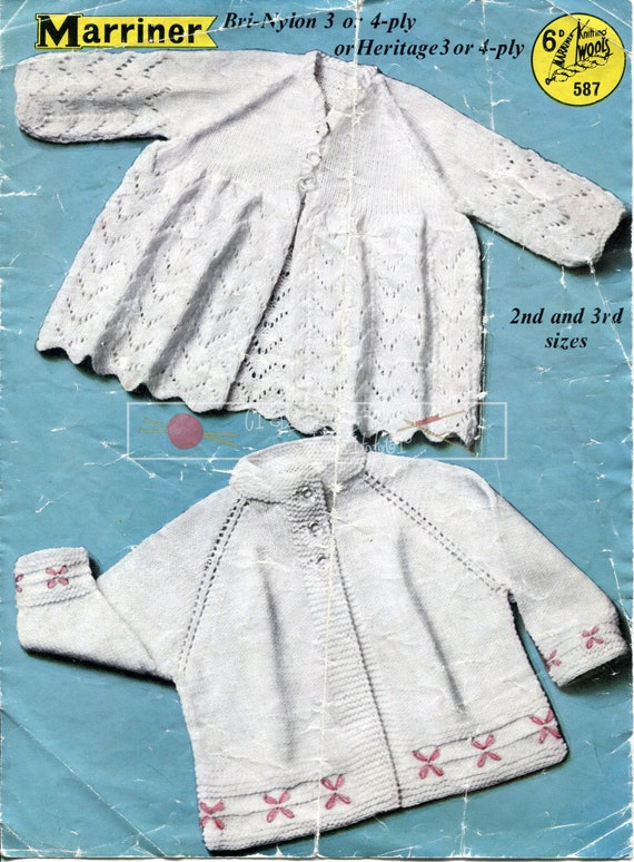 """Baby Matinee Coats 3-ply and 4-ply 19-21"""" Marriner 587 Vintage Knitting Pattern PDF instant download"""