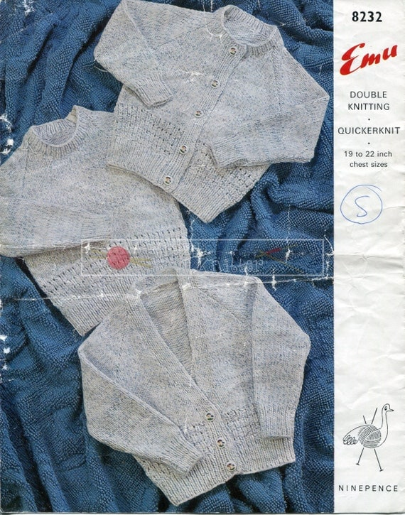 Baby Jumper and Cardigans Knitting Pattern Emu 8232 DK 19-22ins Knitting Pattern PDF instant download