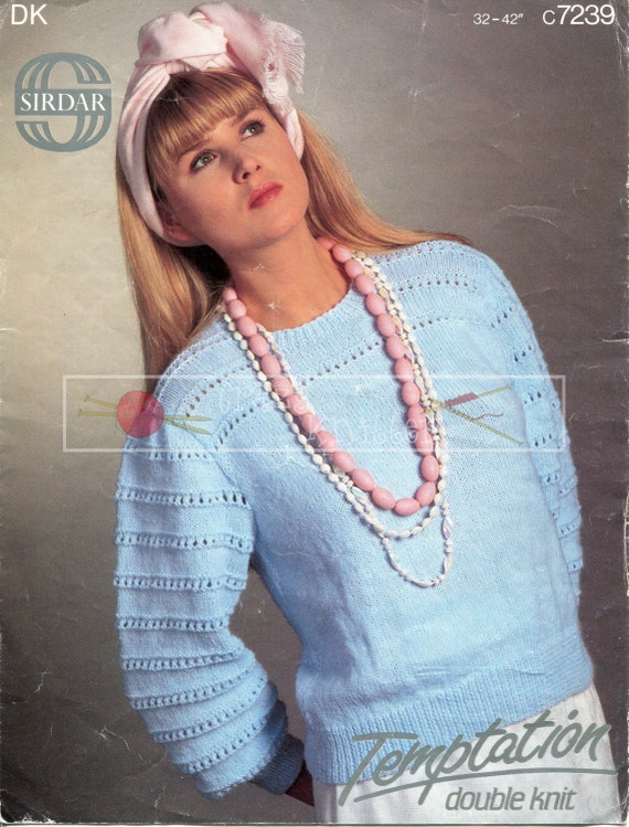 Lady's Sweater DK 32-42ins Sirdar 7239 Vintage Knitting Pattern PDF instant download