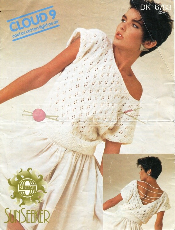 Lady's Lacy Top DK 30-42ins incl Teen Sizes Sirdar 6783 Vintage Knitting Pattern PDF instant download