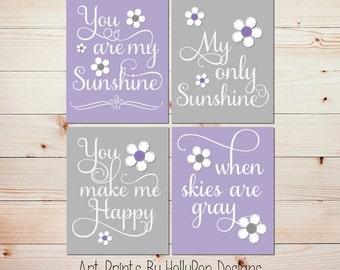 You are My Sunshine Nursery Art Purple Gray Floral Nursery Song Lyrics Wall Decor Toddler Girls Room Art Prints Set of 4 Custom Colors #1034