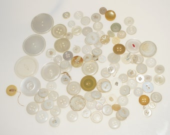106 Vintage Mostly White Plastic Buttons