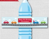 Cars and Trucks Party Water Bottle Labels - Car Birthday Party - Weatherproof Water Bottle Labels - Digital or Handcrafted - FREE SHIPPING