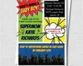 Superhero Boy Baby Shower Invitation - Comic Book Theme - Superhero Baby Shower - Digital Design or Printed Invitations - FREE SHIPPING