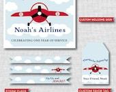 Vintage Airplane Birthday Party - Vintage Airplane Printable Party Set - DIGITAL DESIGN