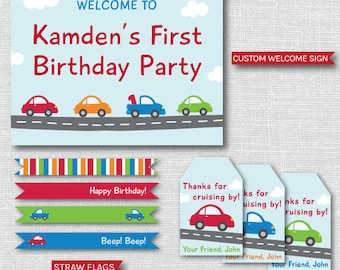 Cars and Trucks Birthday Party Package - Cars and Trucks Printable Party Set - Transportation Birthday - DIGITAL DESIGN