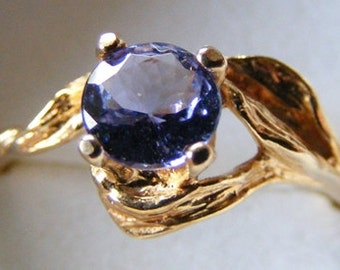 14k Gold Genuine Natural Tanzanite 5mm Round Cut Solitaire Ring .45ct size 7