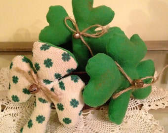 Primitive Shamrocks St. Patrick's Day, Set of 3 Bowl Fillers, Ornies or Tucks