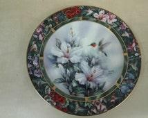 "On Sale W L George ""The Ruby Throated Hummingbird"" Lena Liu's Hummingbird Treasury Collector Plate"