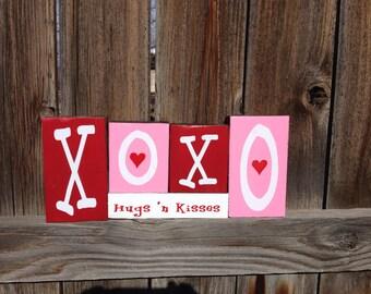 Valentine's wood blocks--XOXO Hugs 'n Kisses