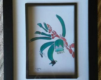 Framed & Signed Original Watercolor Print Painting Kangaroo Paw Flower Painting Australiana Art