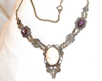 Victorian Antique Brass Cameo Amethyst Filigree Necklace-On Sale Now!