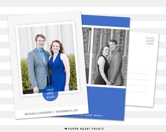 Save-the-Date Postcard, Custom Wedding Photo Card, Modern Save the Date Photo Card, Engagement Postcard - Catherine