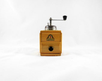 Vintage Mini Wooden German Coffee Mocha Espresso Grinder / C.A. Lehnartz Stahl-Mahlwerk