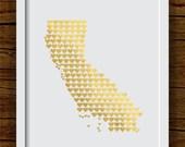 California Art Print, Faux Gold Foil State Art Print - Metallic Artwork - Wedding Gift, Anniversary Gift