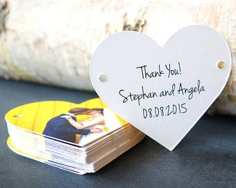 Wedding Favor Thank You Tag, Set of 75, Heart Shape, Die Cut