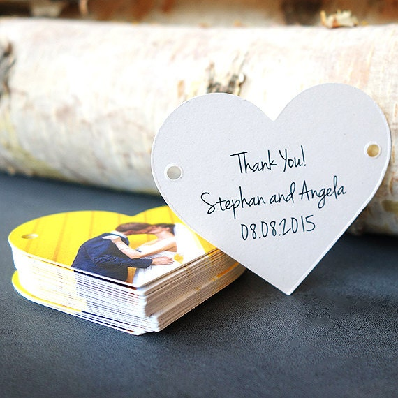 Wedding Favor Thank You Tag, Set of 75, Heart Shape, Die Cut