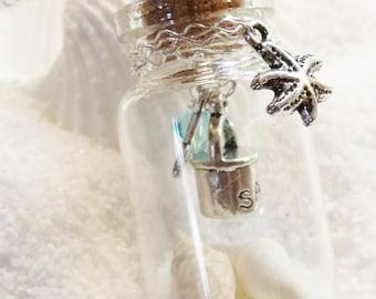 NEW -  Sand Bottle Necklace - Swarovski Crystals - Shells & Sand Necklace