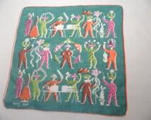 TAMMIS KEEFE handkerchief, hankie / jugglers, jester, circus, magic, harlequin