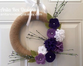 Spring Burlap Wreath, Lavender, Purple Felt Flower Wreath, Spring Wreath, Handmade Wreath