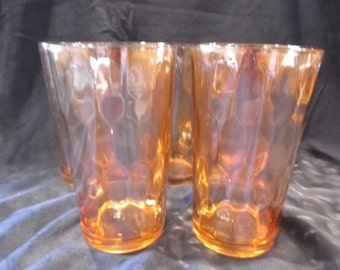 Vintage Honeycomb Carnival Glass Tumblers set of 5