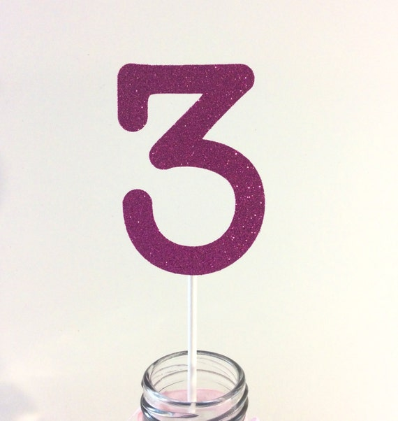 Glitter number 3 centerpieces hot pink by orangeblossompaperie for Glitter numbers for centerpieces
