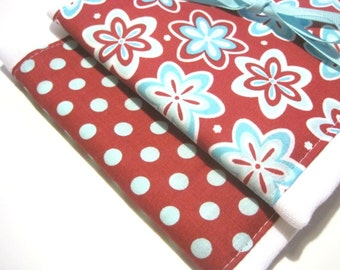 Baby Girl Babies Burp Cloth Set- Burp Rags-Cute Red Blue Flowers Polka Dots, Shower Gift, For Feeding Nursing Cloths, Matching Bib
