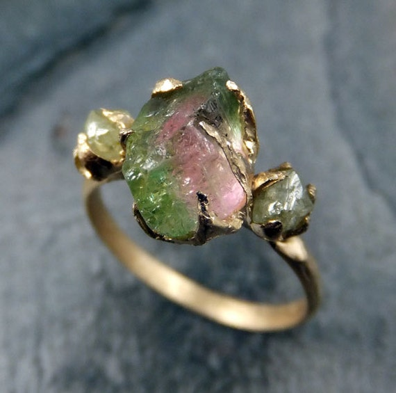 Raw Watermelon Tourmaline Diamond Gold Engagement Ring Wedding