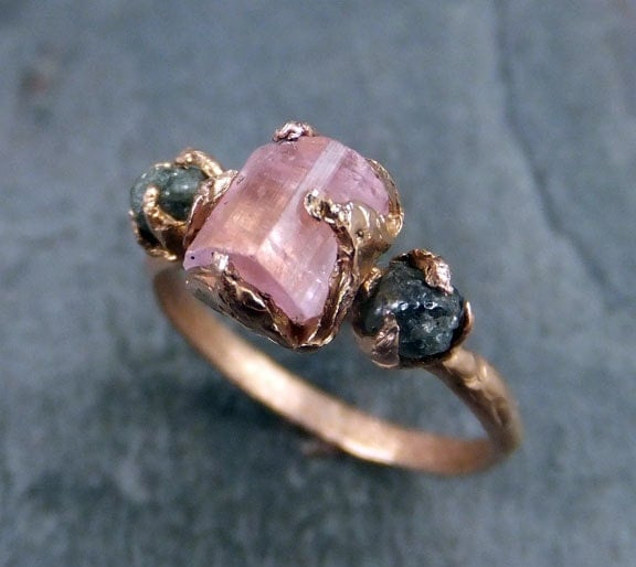 Raw Pink Tourmaline Diamond 14k Rose Gold Engagement Ring