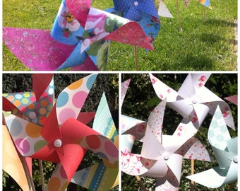 50 paper pinwheels - SPINNING kit no pins! Tea party wedding - you choose colours