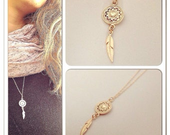 Dream catcher necklace | gold filled necklace |