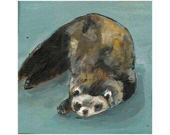 Sleepy Ferret Art Print, Ferret Art, thepaintedgrove