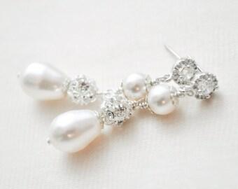 Bridal Earrings, Teardrop Pearl Earrings, Pearl Drop Earrings for the Bride, Art Deco Wedding Earrings
