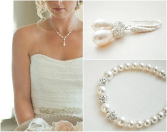 Bridal Jewelry SET, Wedding Necklace SET, Bridal Necklace and Earrings Set