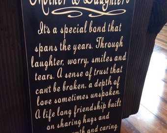 Mothers & Daughters wooden sign, mother's day