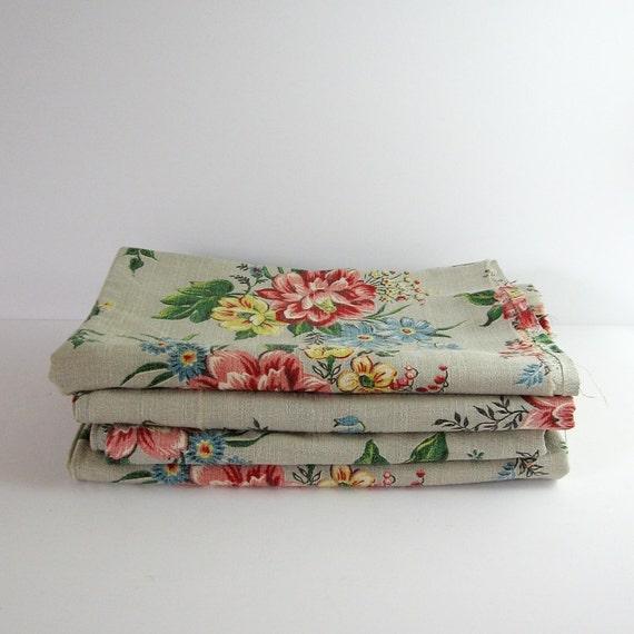 Jahrgang barkcloth grau flower print stoff 1 yard von lastcentury