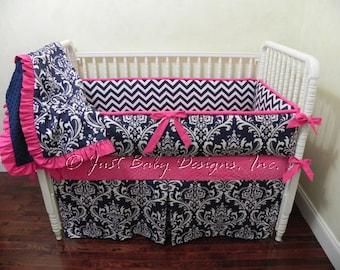 Custom Baby Bedding Set Aurora -  Girl Baby Bedding, Baby Girl Crib Bedding, Navy & Pink Baby Bedding