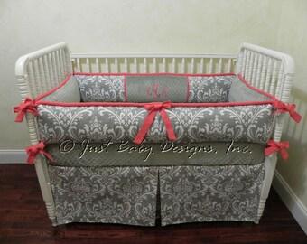 Custom Crib Bedding Set Kaleena - Girl Baby Bedding, Gray and Coral Baby Bedding