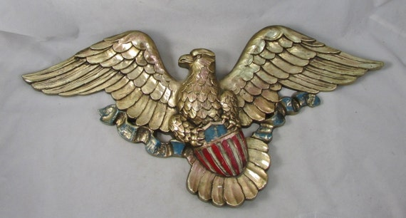 Vintage 60s syroco eagle plaque wall hanging home decor mid for Eagle decorations home
