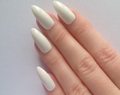 White stiletto nails, Nail designs, Nail art, Nails, Stiletto nails, Acrylic nails, Pointy nails, Fake nails, False nails