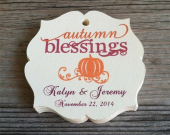 "20 Personalized Autumn/Fall Favor Tags, 1.75"" - Fall favor tags, Fall-Autumn Wedding tags, Thanksgiving, Baby Showers, Bridal Showers"