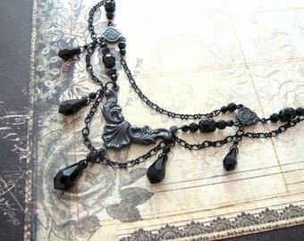 Gothic Wedding - Victorian Mourning Jewelry - Swarovski Crystal Black Teardrop Necklace - Gothic Necklace - Black Victorian Necklace