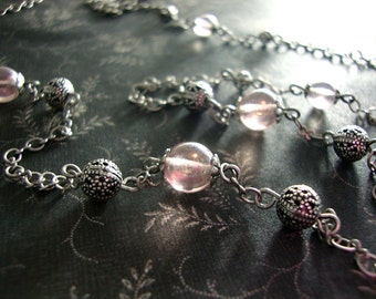 Light Pink Antique Style Necklace - 1920s Necklace Antique Silver Filigree Czech Bead Long Necklace Czech Glass Rose Pink 1920s Jewelry