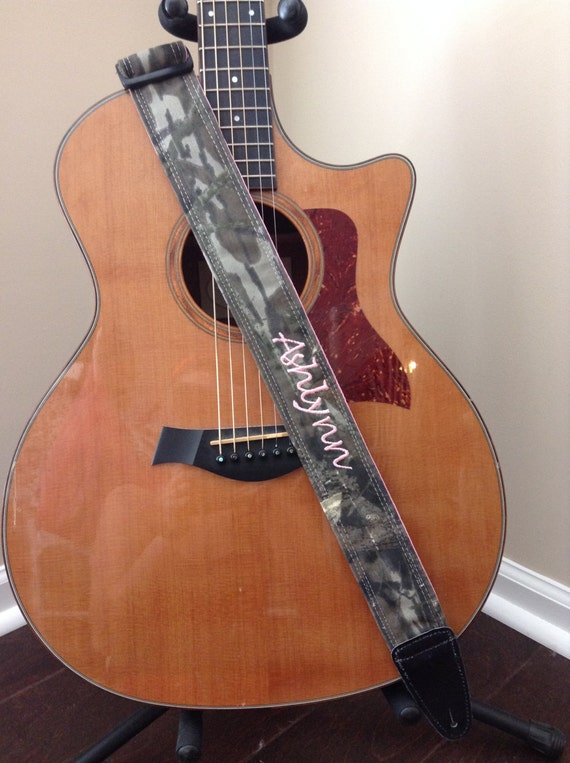 guitar strap handmade mossy oak camo with pink. Black Bedroom Furniture Sets. Home Design Ideas