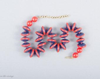 Vintage Plastic Necklace - Mid Century Modern Necklace - Blue and Red Plastic Necklace - Rare - Rockabilly - Statement Necklace