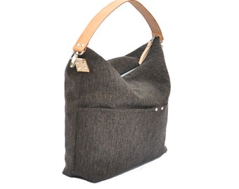 Big Sale----Linen Tote, Beach Bag, Simple Tote Bag for Women, Market tote Bag with Genuine Leather strap