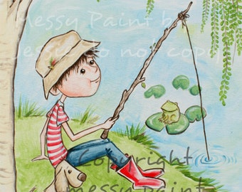Boy Fishing, Boy and his Dog, Fishing in the Pond, Fishing wall art, Boys Wall Art, Children's wall art, Print, Painting