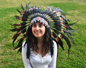 S36- Short double Feather Brown Headdress